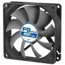 Arctic F9 9.2cm PWM PST Case Fan for Continuous Operation, Black & Grey, 9 Blades, Dual Ball Bearing, 6 Year Warranty