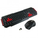 Jedel WS880 Wireless Gaming Desktop Kit, Nano USB, Multimedia Keyboard with Red Colour Coded Keys, 800-2000 DPI Mouse