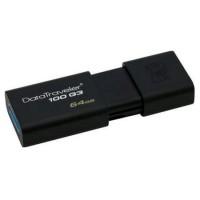 Kingston 64GB USB 3.0 Memory Pen, DataTraveler 100 G3, Black, Sliding Cap