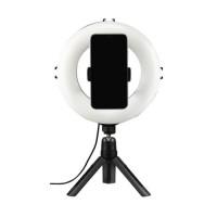 "Hama SpotLight Smart 80 LED Ring Light, 8"" Ring w/ 96 LEDs (Blue/Orange/White), Dimmable, Rotatable, Remote Control, Tripod"