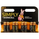 Duracell Simply Alkaline Pack of 8 AA Batteries