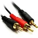 3.5mm (M) Stereo Jack to 2 x RCA Plug (M + M) 5m Black OEM Cable