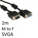 SVGA (M) to SVGA (F) 2m Black OEM Display Extension Cable