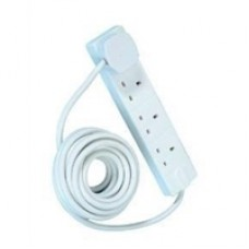 4 Gang White Power Extension 5m Cable