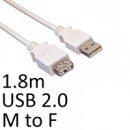 USB 2.0 A (M) to USB 2.0 A (F) 1.8m White OEM Extension Data Cable