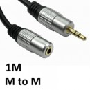 3.5mm (M) Stereo Plug to 3.5mm (F) Stereo Plug 1m Black with Gold Connectors OEM Cable