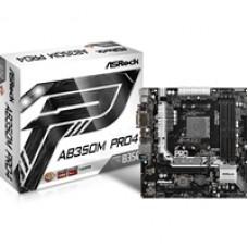 ASRock AB350M Pro4 AMD Socket AM4 Ryzen Micro ATX DDR4 D-Sub/DVI-D/HDMI M.2/Ultra M.2 USB 3.0/Type-C Motherboard