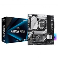 ASRock Z490M Pro4 Intel Socket 1200 10th Gen Micro ATX HDMI/VGA/DisplayPort Dual M.2 USB C Motherboard