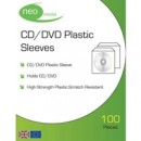 Clear Disk Sleeves 100 pack 100 Micron