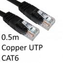RJ45 (M) to RJ45 (M) CAT6 0.5m Black OEM Moulded Boot Copper UTP Network Cable