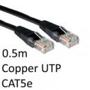RJ45 (M) to RJ45 (M) CAT5e 0.5m Black OEM Moulded Boot Copper UTP Network Cable