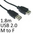 USB 2.0 A (M) to USB 2.0 A (F) 1.8m Black OEM Extension Data Cable