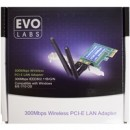 Evo Labs PCI-Express N300 WiFi Card with Detachable Antennas and Full/Low Profile Brackets