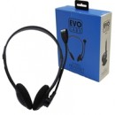 Evo Labs HP01 Headset with Mic, 2x 3.5mm Connection, Plug and Play with 40mm Audio Drivers, Black